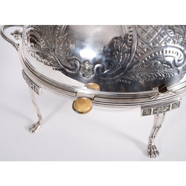 Metal Vintage English Silver Plate / Copper Footed Tableware Server For Sale - Image 7 of 11