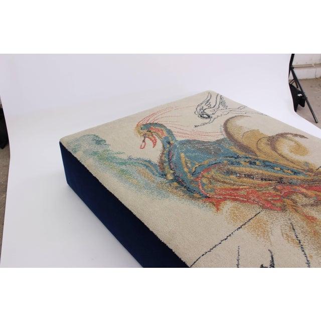"Salvador Dalí Oversized Ottoman Upholstered in Salvador Dali ""Le Grand Pavon"" Rug For Sale - Image 4 of 7"