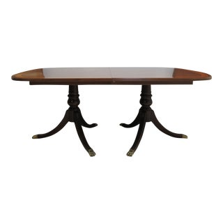 Ethan Allen Banquet Conference Dining Table 18th Century Banded Mahogany