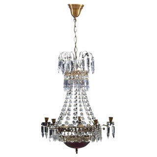 Empire Chandelier 1900s With Red Glass Bowl For Sale