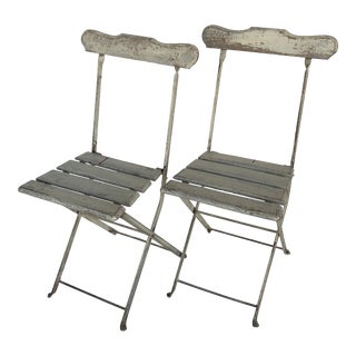 Vintage French Distressed Folding Bistro Chairs - a Pair