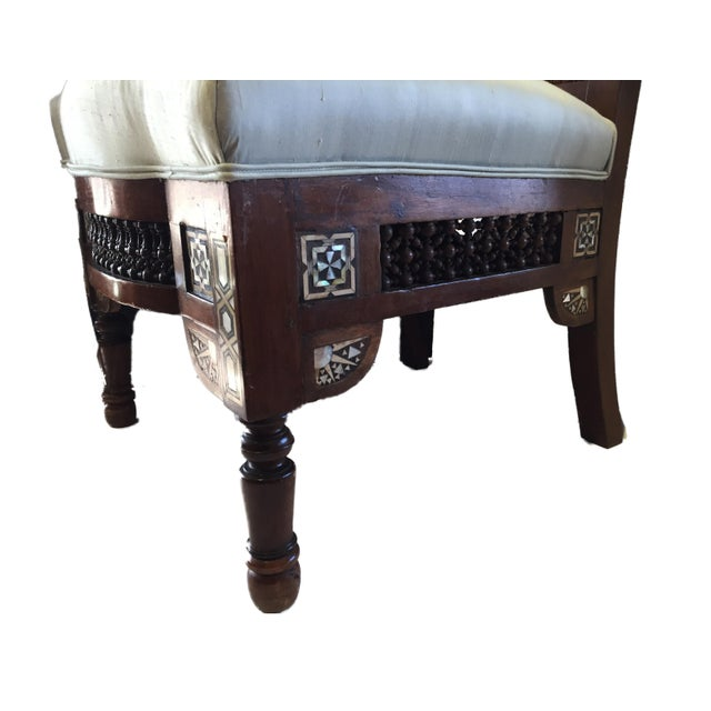 """19th C Middle Eastern /Moorish Chair W/Mother Pearl 41"""" H For Sale - Image 9 of 12"""