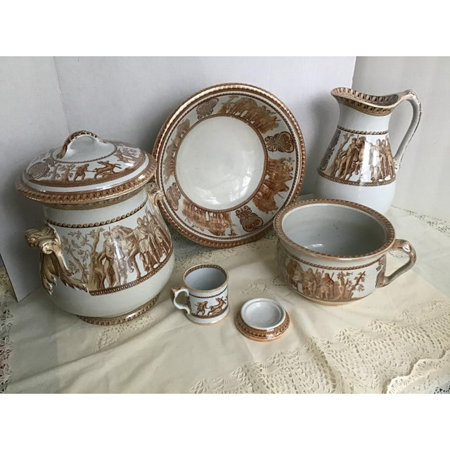 1800s Greek Roman Emperor Chamber Pot Pitcher Bathroom Set - 7 Pieces For Sale - Image 13 of 13