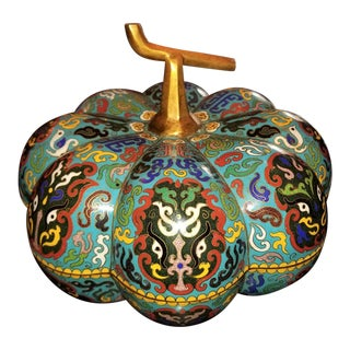 Chinese Cloisonne Pumpkin Lidded Box For Sale