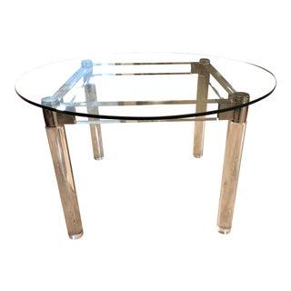 Carmichael Designs Custom Lucite + Glass Round Table For Sale