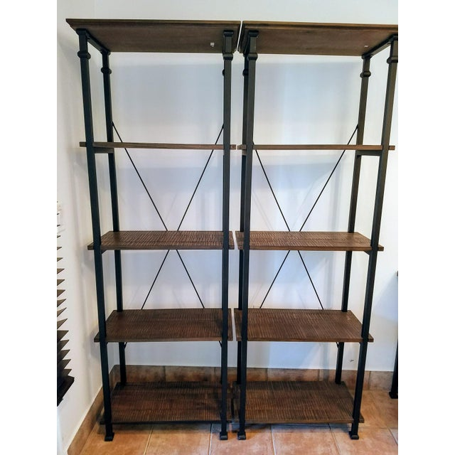 Vintage Modern Rustic Bookcases - A Pair - Image 2 of 4