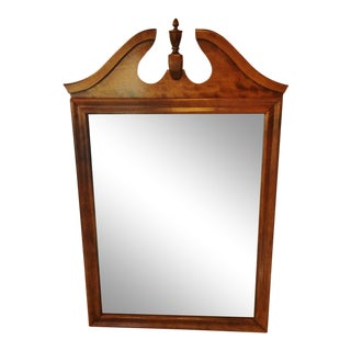 Late 20th Century Ethan Allen Maple Pediment Wall Mirror For Sale
