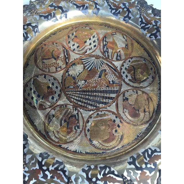 Vintage Pierced Metal Egyptian Platter or Wall Art - Image 4 of 6