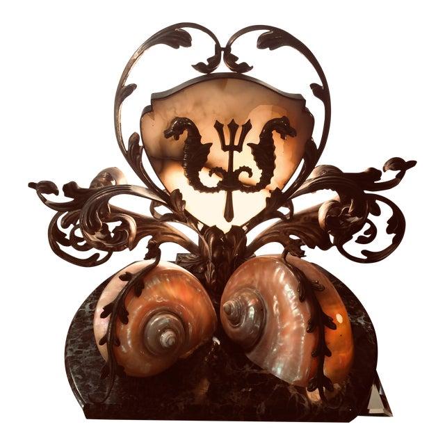 Rare Antique Bronze Marble & Nautilus Shell Centerpiece Lamp For Sale
