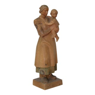 Mid Century Sculpture of a Mother & Child c.1950s by Anri