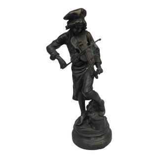 Lulli Bronze Boy Violinist Sculpture For Sale