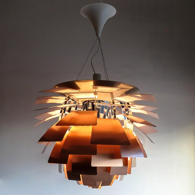 Metal 1950s Large Ph Artichoke Copper Lamp by Poul Henningsen For Sale - Image 7 of 11