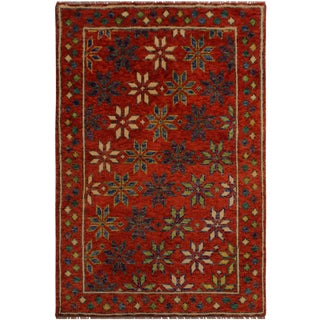1990s Southwestern Balouchi Claudett Orange/Ivory Wool Rug - 3'5 X 5'1 For Sale