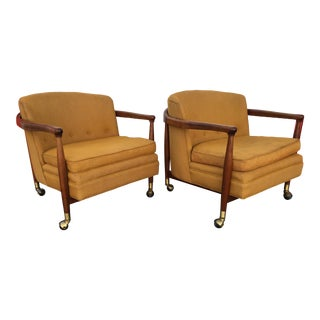 1960s Vintage Danish Modern Rolling Barrel Back Lounge Chairs by Finn Andersen- A Pair For Sale