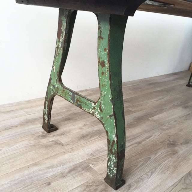 Cast Iron Base Reclaimed Wood Dining Table - Image 5 of 7