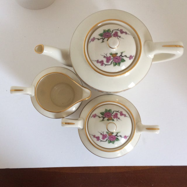 "Teapot with Creamer and Sugar ""Ming"" with Bird by Lenox - Set of 3 For Sale In Sacramento - Image 6 of 11"