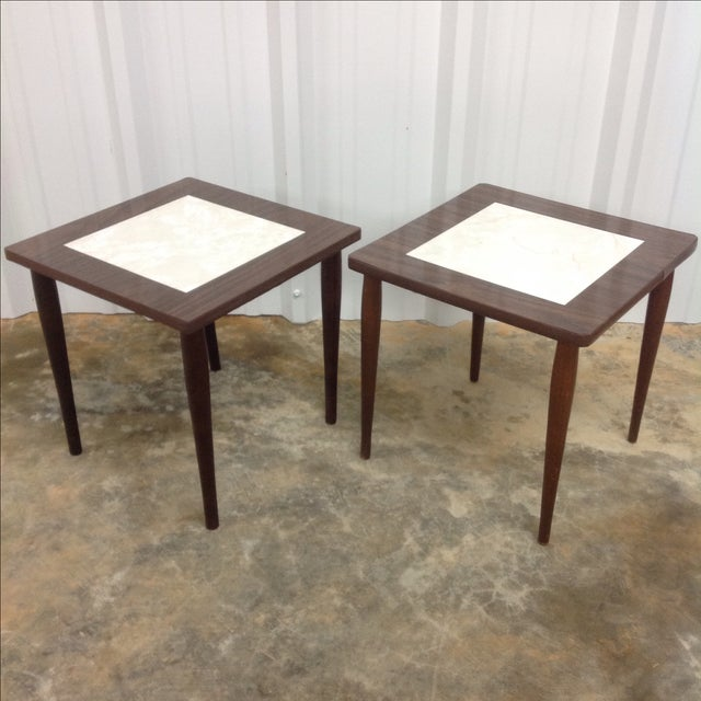 Pair of Mid Century Side Tables With Formica Tops. Great for your living room or bedroom.