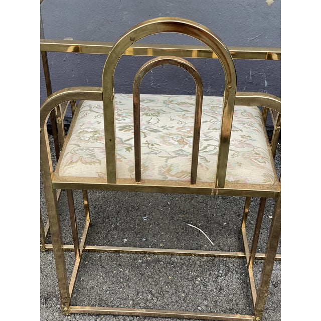 Brass Mid Century Brass Vanity Table and Chair For Sale - Image 8 of 13