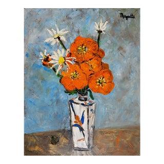 Modernist Orange Floral Still Life Oil Painting For Sale