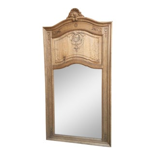 Antique French Carved Bleached Trumeau Mirror