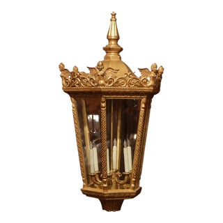 Mid-20th Century French Louis XVI Carved Giltwood Six-Light Lantern For Sale