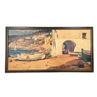 Mid-Century Mediterranean Coastal Print For Sale