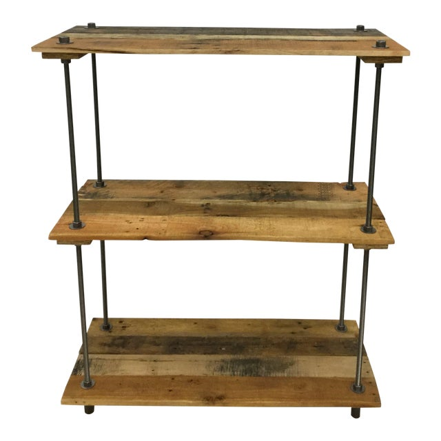 Adjustable Height Industrial Style 3-Shelf Pallet Wood Bookcase For Sale - Image 13 of 13