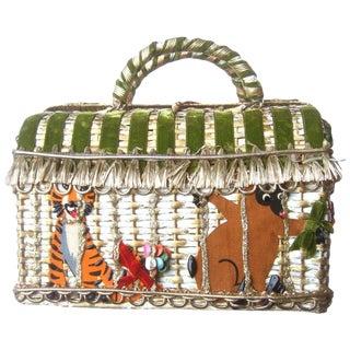 Whimsical Circus Theme Wicker Handbag by Soure Bag Ny Circa 1950s For Sale