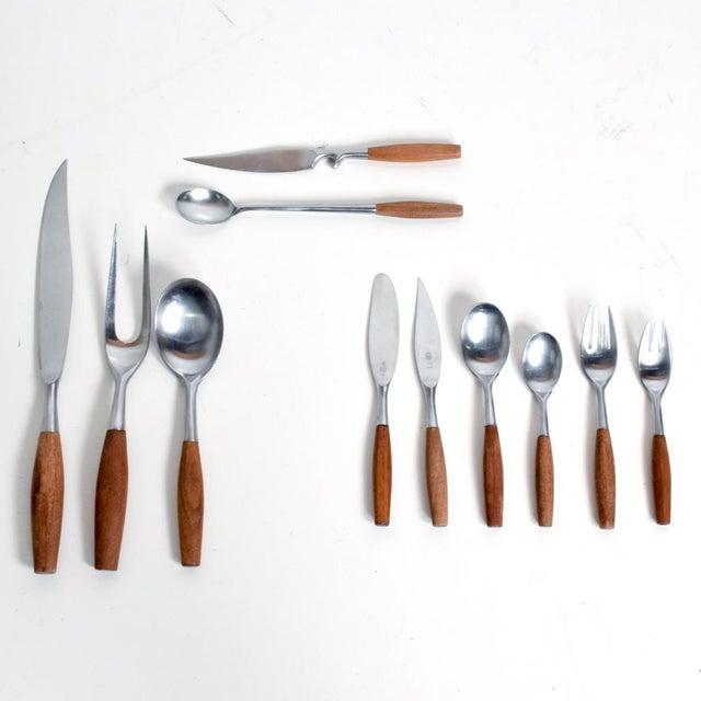 Mid Century Danish Modern Dansk Flatware Set 53 Pieces Teak Stainless Fjord Jens H Quistgaard For Sale - Image 11 of 11