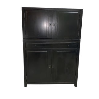 Clyde Bar Cabinet Pottery Barn Mahogany Wood Black For Sale
