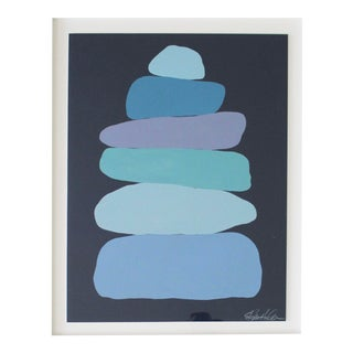 Stephanie Henderson Cairn in Moody Blues Original Painting For Sale