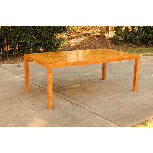 Tan Magnificent Restored Butterfly Patterned Olivewood Dining Table by Milo Baughman for Directional For Sale - Image 8 of 11