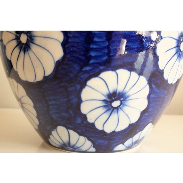 Stylized Floral Blue & White Bulbous Ceramic Vase - Image 4 of 7