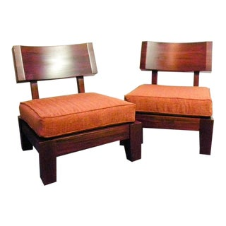 Japanese Inspired Modern Lounge Chairs - a Pair For Sale