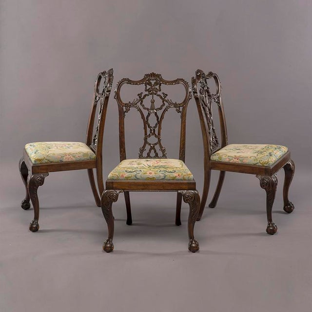 Late 19th Century Set 8 19th C Hand Carved Chippendale Tassel Back Dining Chairs For Sale - Image 5 of 13
