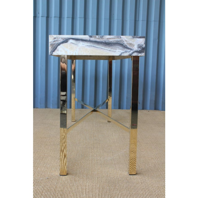 Onyx Top Console Table With Brass Base For Sale - Image 9 of 11
