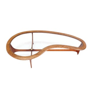 Large Danish Mid-Century Modern Biomorphic Kidney Shape Coffee Table
