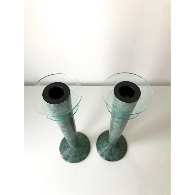 1980s Post Modern Green Marble and Lucite Candlestick Holders - a Pair For Sale - Image 5 of 6
