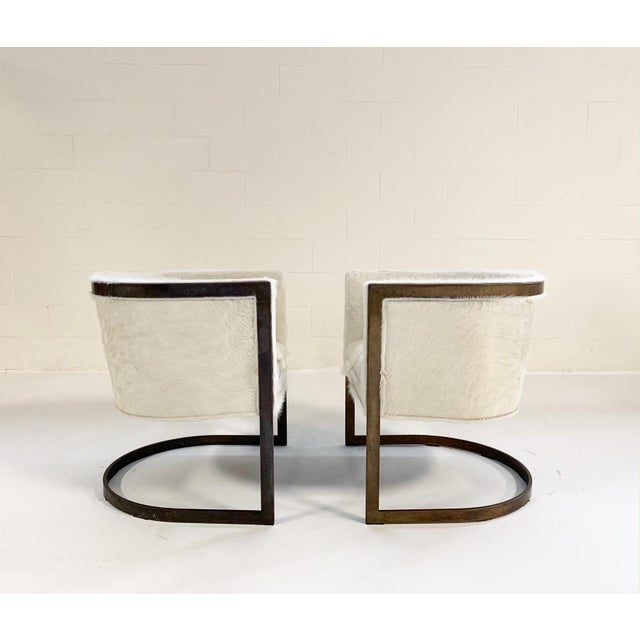 Vintage Brass Cantilever Chairs Restored in Brazilian Cowhide - Pair For Sale In Saint Louis - Image 6 of 10