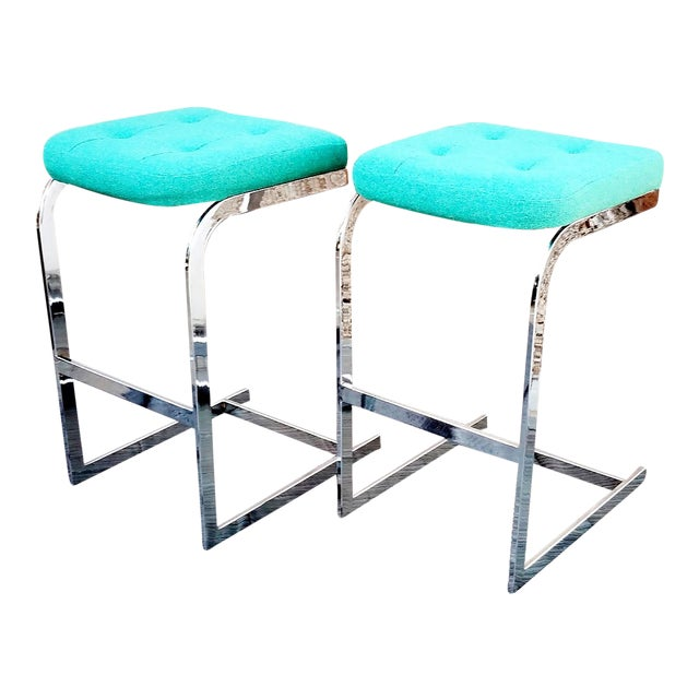 1970s Mid-Century Modern Design Institute America Cantilevered Chrome Barstools - a Pair For Sale