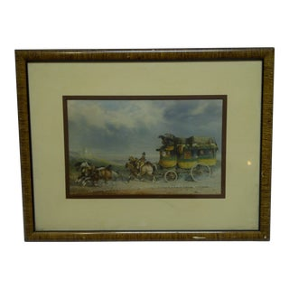 """Stage Coach"" Framed & Matted Original Print For Sale"