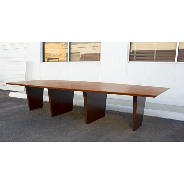 Massive Edward Wormley for Dunbar Walnut and Mahogany Dining / Conference Table For Sale - Image 9 of 12