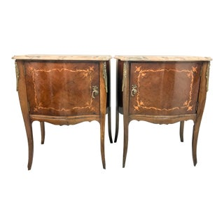French Inlaid Marble Top Side Tables - A pair For Sale