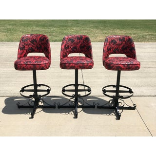 1960s Vintage Spanish Revival Scroll Iron Bar Stools - Set of 3 Preview