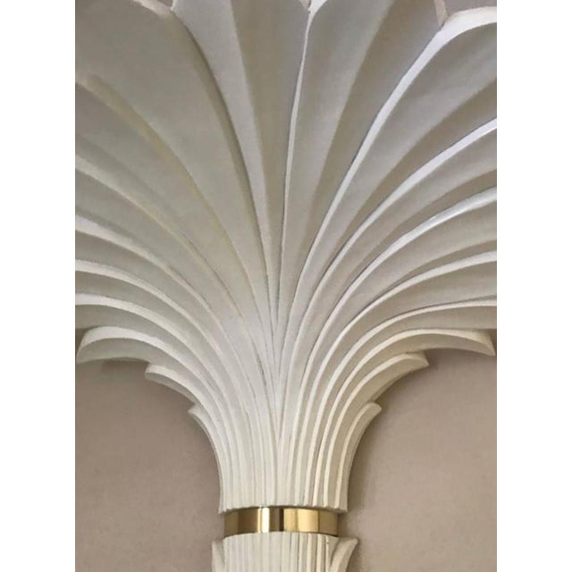 Art Deco Palm Tree Wall Lights in the Style of Serge Roche - A Pair For Sale - Image 3 of 6