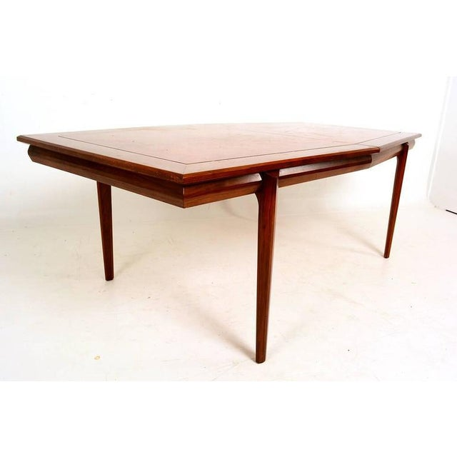 For your consideration a vintage dining table designed by Monteverdi & Young. Solid walnut wood with burl wood veneer top....