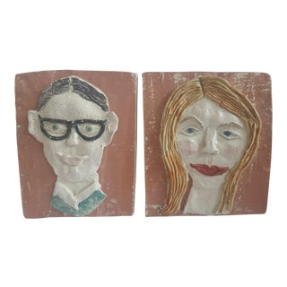 Abstract Faces Glazed Pottery Sculptural Portrait Wall Art - a Pair For Sale