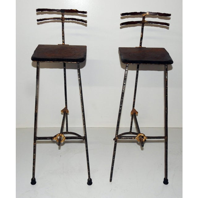 Mid-Century Modern Giacometti Style Bar Stools - A Pair - Image 3 of 8