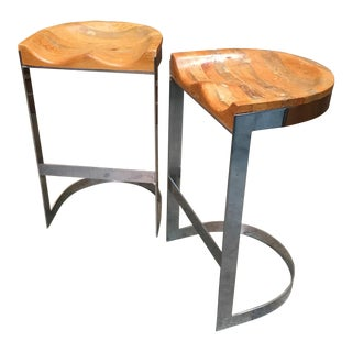 Late 20th Century Warren Bacon Chrome Cantilever Stools- A Pair For Sale
