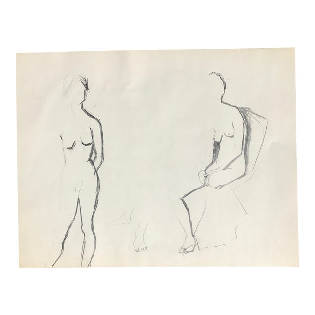 Vintage Charcoal Nudes Sketch - Image 1 of 4
